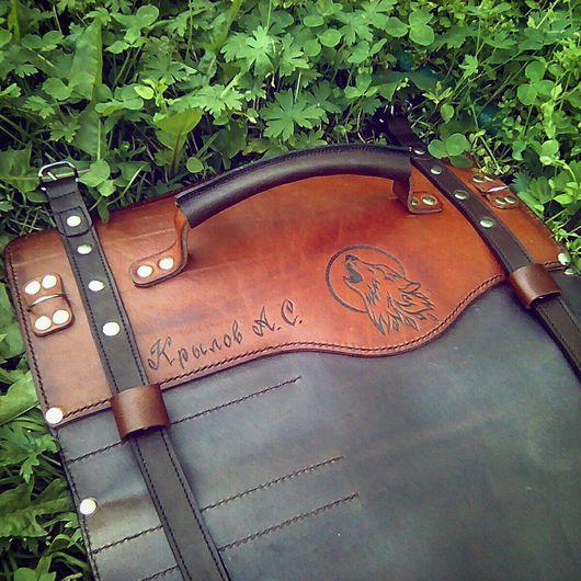 Мужские сумки ручной работы. Ярмарка Мастеров - ручная работа. Купить Именная скрутка для ножей. Handmade. Скрутка для ножей