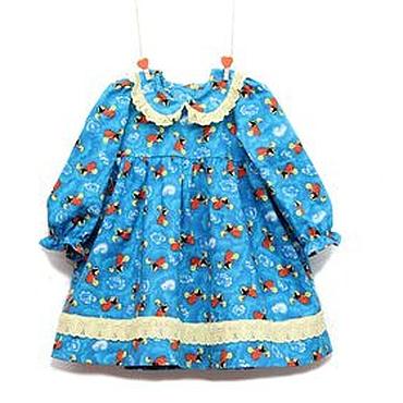 Работы для детей, ручной работы. Ярмарка Мастеров - ручная работа Бирюзовое платье для девочки с пчелками из американского хлопка. Handmade.