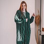 handmade. Livemaster - original item Women`s knitted cardigan with braids in green. Handmade.