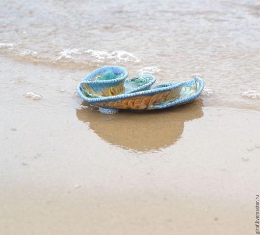 """Тарелки ручной работы. Ярмарка Мастеров - ручная работа. Купить """"Подарок океана."""" Керамика.. Handmade. Мятный, раковина"""