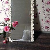 """Для дома и интерьера ручной работы. Ярмарка Мастеров - ручная работа Зеркало """" белые розы"""". Handmade."""