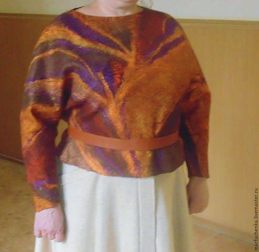 """Большие размеры ручной работы. Ярмарка Мастеров - ручная работа. Купить Пуловер """"Ржавчина"""". Handmade. Коричневый, яркая обежда, лён"""