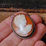 Брошка кулон антикварный, камея, серебро 800 пробы, Германия