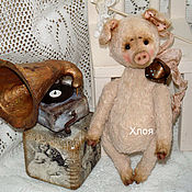 Куклы и игрушки ручной работы. Ярмарка Мастеров - ручная работа Тедди-свинка Хлоя (друг мишек Тедди). Handmade.