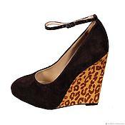 Обувь ручной работы handmade. Livemaster - original item Brown velour shoes with leopard print wedge. Handmade.