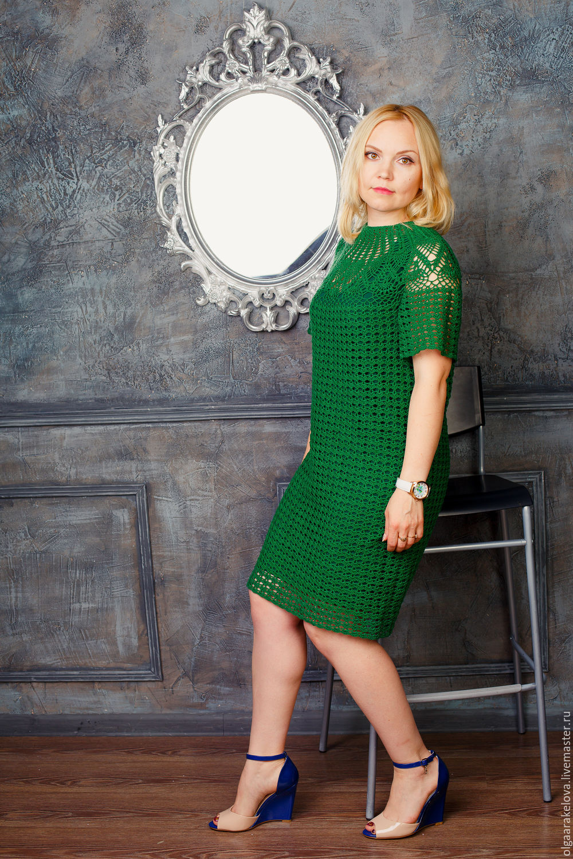 3063eba9080 Платье зеленое ажурное вязаное летнее с круглой кокеткой – купить в ...