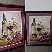 Картины и панно ручной работы. Ярмарка Мастеров - ручная работа Вышивка Натюрморт с вином. Handmade.