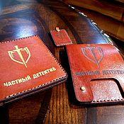 """Обложки ручной работы. Ярмарка Мастеров - ручная работа """"Частный детектив"""" набор из обложки, кошелька и брелока. Handmade."""