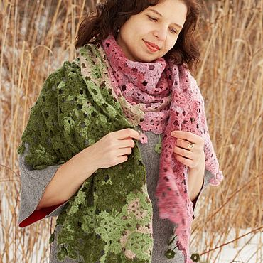 Accessories handmade. Livemaster - original item Large knitted scarf stole warm lace for women Flowers. Handmade.