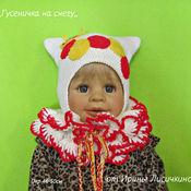 Работы для детей, ручной работы. Ярмарка Мастеров - ручная работа Шапка + шарф ,,Гусеничка на снегу,,. Handmade.