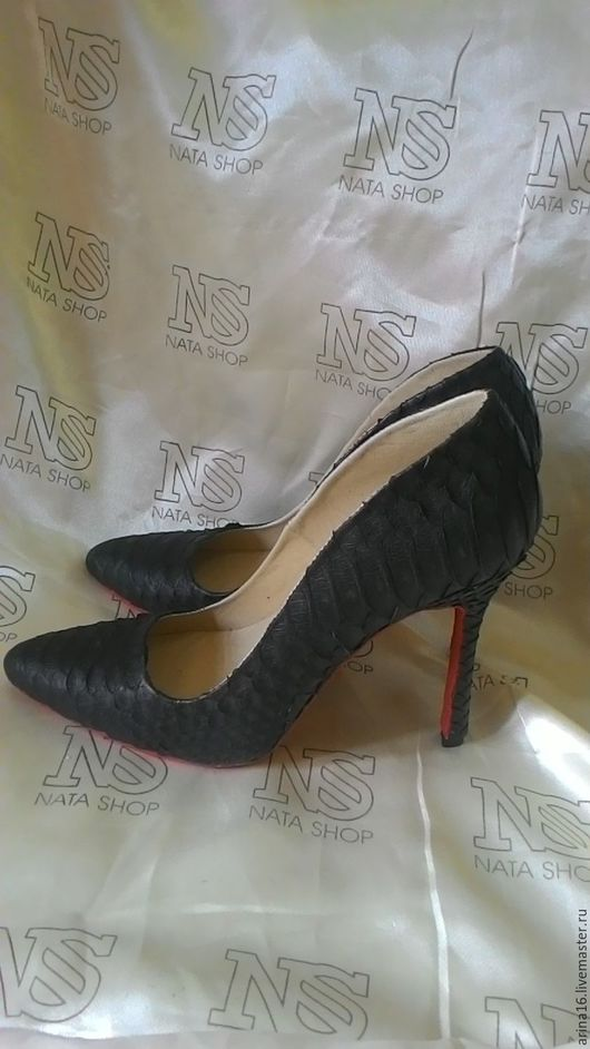Обувь ручной работы. Ярмарка Мастеров - ручная работа. Купить Туфли из питона. Handmade. Черный, текстильные игрушки, натуральная кожа