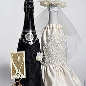 Свадебный салон handmade. Livemaster - original item The decoration of the bottles for the Bride and Groom. Handmade.