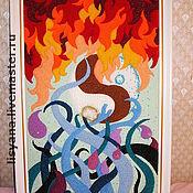 """Картины и панно ручной работы. Ярмарка Мастеров - ручная работа Панно """"Единство противоположностей. Огонь/вода"""" в багете. Handmade."""