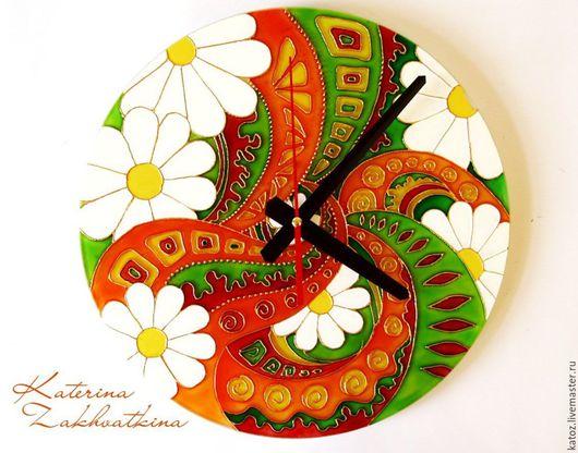 """Часы для дома ручной работы. Ярмарка Мастеров - ручная работа. Купить Часы """"Яркие краски лета"""". Handmade. Комбинированный, ромашки"""