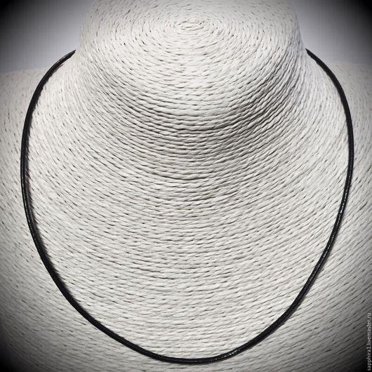 Для украшений ручной работы. Ярмарка Мастеров - ручная работа. Купить Основа для колье из натуральной черной кожи с серебряным замочком. Handmade.