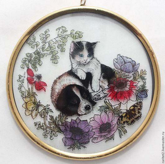 Винтажные предметы интерьера. Ярмарка Мастеров - ручная работа. Купить Панно собака кот бабочка цепь латунь Англия 11. Handmade.