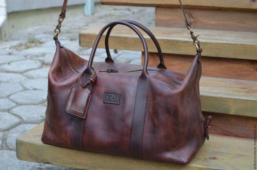 Мужские сумки ручной работы. Ярмарка Мастеров - ручная работа. Купить Дорожная сумка: коричневая. Handmade. Бордовый, Итальянская кожа