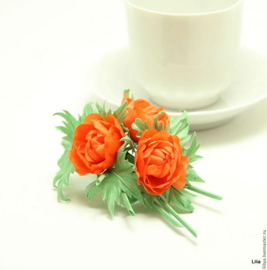 """Цветы ручной работы. Ярмарка Мастеров - ручная работа. Купить Цветы из шелка. Брошь """"Купальницы"""" (Жарок). Handmade. Оранжевый, цветы"""
