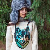 Одежда ручной работы. Ярмарка Мастеров - ручная работа Вязаный женский свитер с рисунком волка. Handmade.