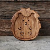 Посуда handmade. Livemaster - original item Children`s wooden plate Hedgehog. Handmade.