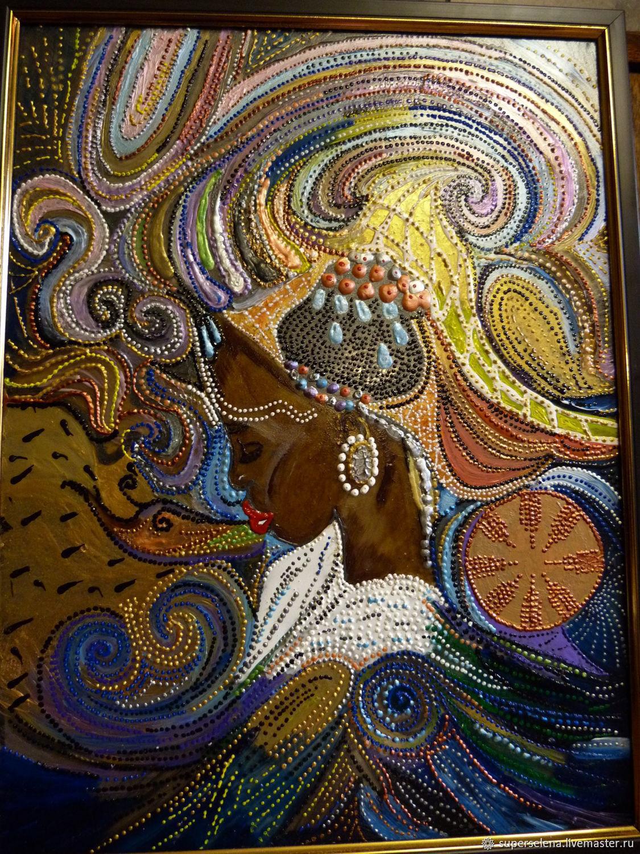 "Картина на стекле акриловыми красками "" Африка в космосе"", Картины, Касимов,  Фото №1"