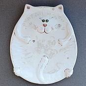 Посуда handmade. Livemaster - original item Dish: White cat. Handmade.