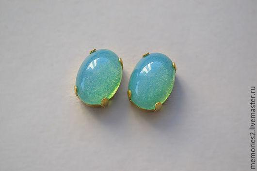 Для украшений ручной работы. Ярмарка Мастеров - ручная работа. Купить Винтажные стразы 14х10 мм цвет Green opal. Handmade.