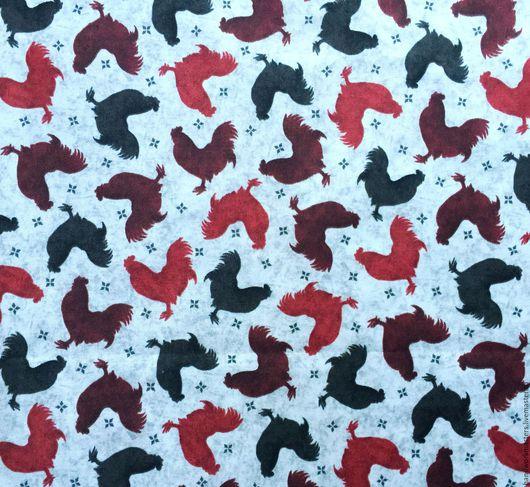 Ткань для лоскутного шитья QUILTING TREASURES из коллекции `Бонжур`. Ткань с петухами. Купить ткань для лоскутного шитья.
