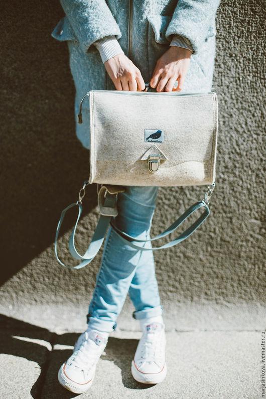 Женские сумки ручной работы. Ярмарка Мастеров - ручная работа. Купить Трансформер. Сумка-рюкзак из войлока. Handmade. Однотонный, фьюжн