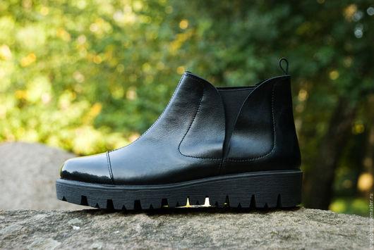 Обувь ручной работы. Ярмарка Мастеров - ручная работа. Купить Ботинки женские. Handmade. Черный, кожанные ботинки, обувь на заказ
