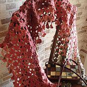 Аксессуары ручной работы. Ярмарка Мастеров - ручная работа Палантин из цветочков, связанный крючком/шарф. Handmade.