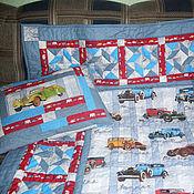 """Для дома и интерьера ручной работы. Ярмарка Мастеров - ручная работа Комплект одеяло+ подушка """"Любителю машин"""". Handmade."""