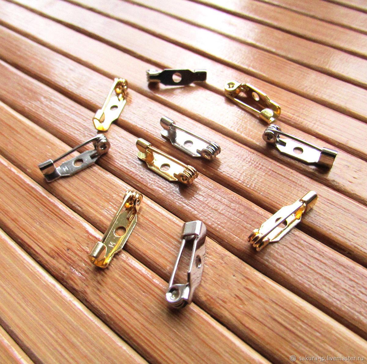 Японские булавки 15 мм, основы для брошей: серебро и золото, Фурнитура для украшений, Хмельницкий,  Фото №1