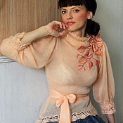 """Одежда ручной работы. Ярмарка Мастеров - ручная работа Блузка """"Персик со сливками"""". Handmade."""