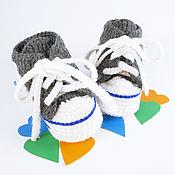 Работы для детей, handmade. Livemaster - original item booties shoes knitted boy`s gift to the discharge, grey, blue. Handmade.