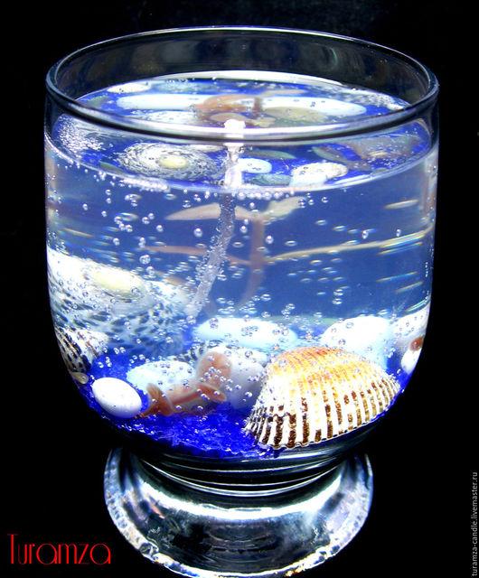 Свечи ручной работы. Ярмарка Мастеров - ручная работа. Купить Гелевая свеча №3. Handmade. Гелевая свеча, морская тема