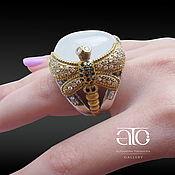 handmade. Livemaster - original item Ring with aquamarine and CZ. 925 sterling silver, gilding 24K. Handmade.