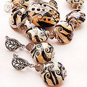 Украшения ручной работы. Ярмарка Мастеров - ручная работа Лесной органик - кулон, серьги и браслет  - комплект лэмпворк. Handmade.