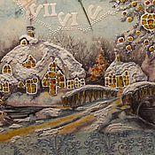 Для дома и интерьера ручной работы. Ярмарка Мастеров - ручная работа Часы настенные Праздничная рождественская деревня Новый год. Handmade.