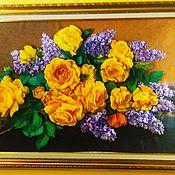 Картины ручной работы. Ярмарка Мастеров - ручная работа Картины:Картина вышивка лентами Розы с сиренью. Handmade.
