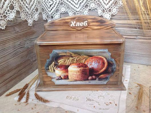 """Кухня ручной работы. Ярмарка Мастеров - ручная работа. Купить Хлебница деревянная """"Золотой колосок"""". Handmade. Коричневый, хлебница купить"""