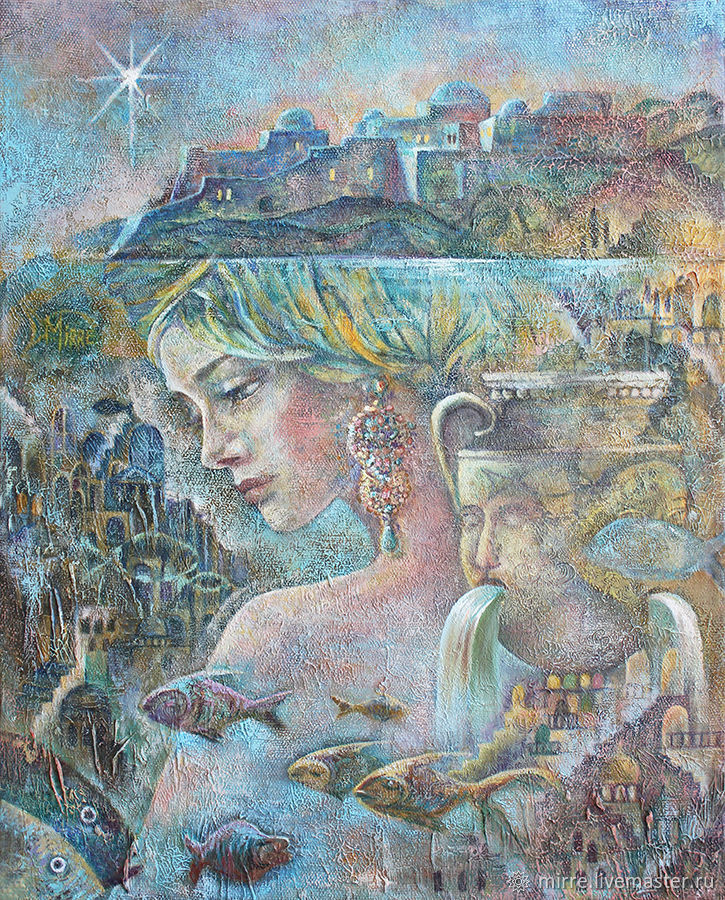 Картина купить, под водой, звезда, живопись маслом, подводный мир, Картины, Санкт-Петербург,  Фото №1