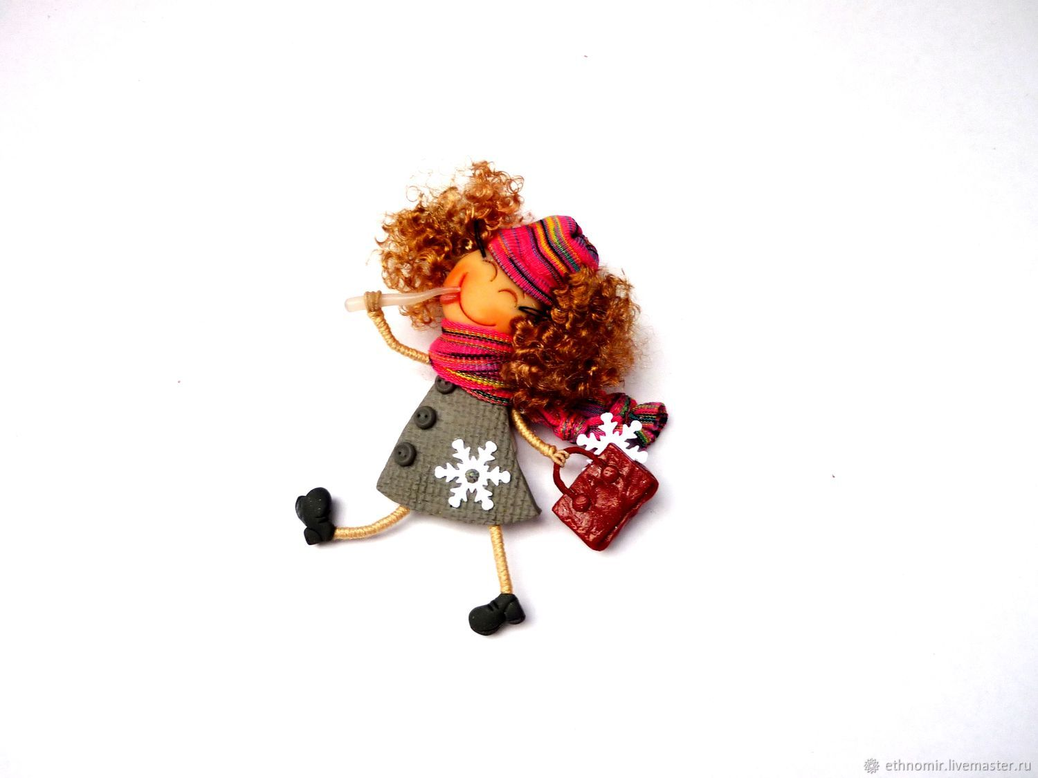 Brooch girl ' Winter in pink...', Brooches, Irbit,  Фото №1