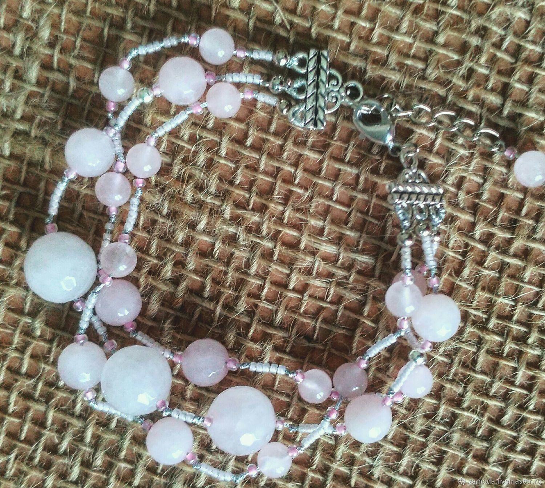 Bracelet pink quartz in three strands, Bead bracelet, Kotelniki,  Фото №1