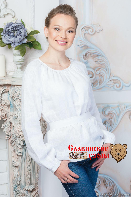 cb4de14e13d Blouse classic white linen – shop online on Livemaster with shipping ...