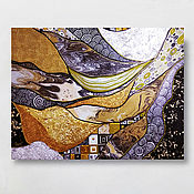 Картины и панно handmade. Livemaster - original item Interior painting in an abstract style in gold and silver colors Klimt. Handmade.