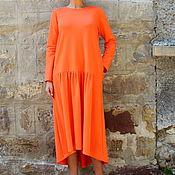 Одежда ручной работы. Ярмарка Мастеров - ручная работа Оранжевое макси миди платье из хлопка, с карманами. Handmade.