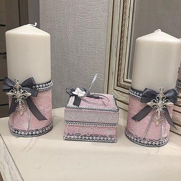 Свадебный салон ручной работы. Ярмарка Мастеров - ручная работа Свечи на крестины( крестильные свечи). Handmade.