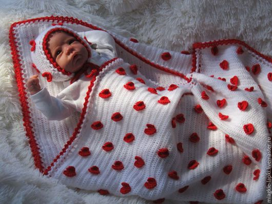 """Для новорожденных, ручной работы. Ярмарка Мастеров - ручная работа. Купить """"Сердечки"""" - комплект. Handmade. Разноцветный, одеяло"""