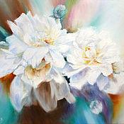 Картины ручной работы. Ярмарка Мастеров - ручная работа Пионы белые на абстрактном фоне. Handmade.